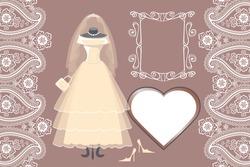 The composition of female's wedding long dress,Bridal veil,handbags ,high-heeled shoes,swirling frame,label,paisley border. Bridal shower.Fashion vector Illustration