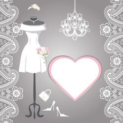 The composition of female's wedding short dress,Bridal veil,handbags ,high-heeled shoes,chandelier,label,paisley border. Bridal shower.Fashion vector Illustration