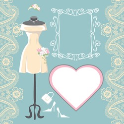 The composition of female's wedding short dress,Bridal veil,handbags ,high-heeled shoes,swirling frame,label,paisley border. Bridal shower.Fashion vector Illustration