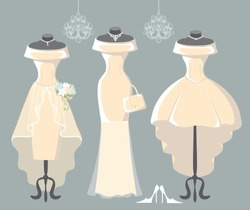 The composition of the three female's wedding dresses,Bridal veil,bouquet,handbags and high-heeled shoes. Bridal shower.Fashion vector Illustration