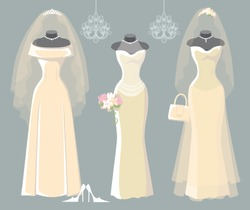 The composition of the three female's wedding long dresses,Bridal veil,bouquet,handbags and high-heeled shoes. Bridal shower.Fashion vector Illustration