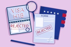 The concept an rejected American work visa, h1b. Top view, passport with green stamp, pen, and a folder of documents. Vector illustration in flat style