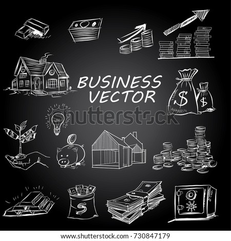 The concept for business investment, savings and making money.Hand drawn sketch elements set. Business doodle vector illustration.