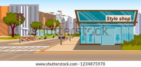 The Concept Girlfriends Shopping in the Style Shop. Vector Illustration of Cartoon Store stylish clothes. The Building is a Style Shop located on the corner of two Streets. Glass Showcases