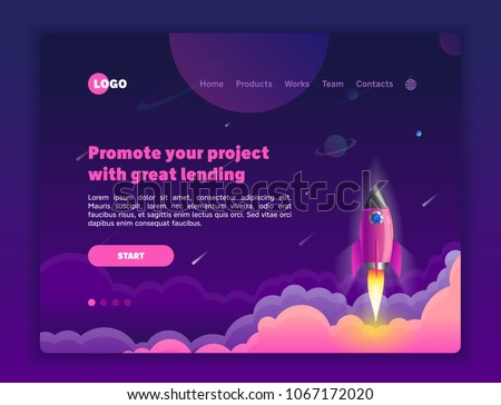 The concept head of the website to launch the company: for promotion, space, hosting or other spheres. Landing page template. Isometric vector illustration with space and rocket.