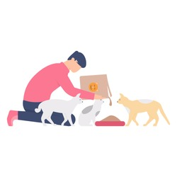 the concept of a cat nurse, animal lover. illustration of a man feeding his cat. flat design. can be used for elements, landing pages, UI.