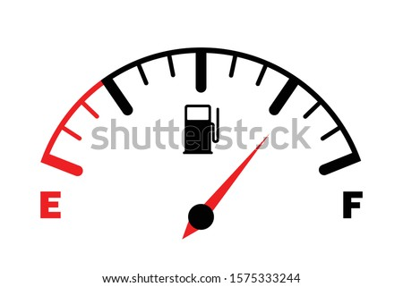 The concept of a fuel indicator, gas meter. Fuel sensor. Car dashboard. Vector illustration on white background ストックフォト ©