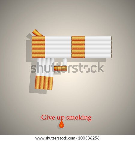the concept of a gun from cigarettes. Vector illustration. Eps10