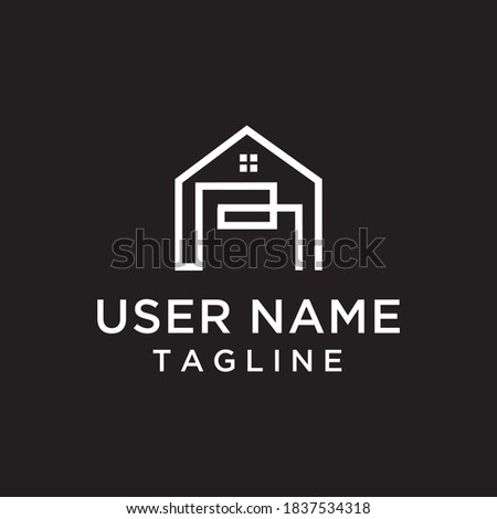 the concept of a house combination with the letter R in white for the construction logo, house, room Photo stock ©