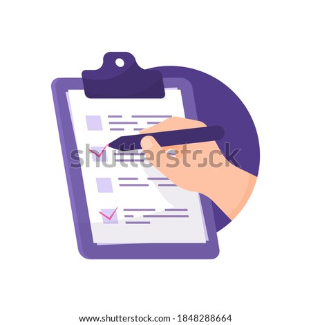 the concept of a poll, survey, election, or questionnaire. hand illustration using a pencil or pen to tick a box on the question paper attached to the board. flat style. design element and icon