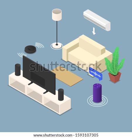 The concept of a smart home on the example of a room. Automation, modern technology, centralized management through a mobile voice assistant application. Flat vector isometric illustration.