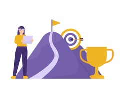 the concept of achieving goal or target, strategy and business planning. illustration of a woman manager setting the path to success. mountain, trophy, flag, dartboard. flat style. design elements