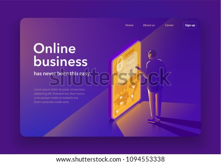 Stock Photo The concept of business management. A business man is watching his business with a smartphone. Dark design with a glow. Landing page template. 3d vector isometric illustration.