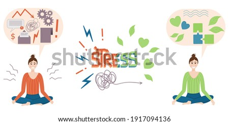 The concept of calm. Nervous stressed woman calms down. Get rid of work problems and find peace. Lettering stress. Vector illustration. ストックフォト ©