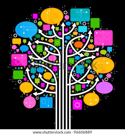 the concept of communication and cooperation of people in the global computer network. The arrow and speech bubbles are arranged in a tree - stock vector