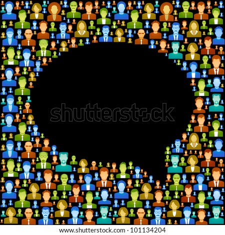 the concept of communication between people. vector  background consists of many icons of modern humans