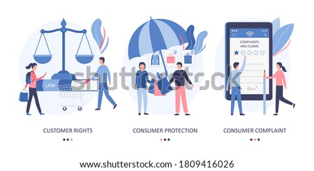 The concept of consumer rights, consumer protection law, customer complaint and negative feedback on the purchased product or service. Scales of justice, umbrella, online shopping. Flat vector.