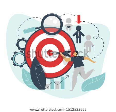 The concept of demographic targeting. A man hits a target with a dart. Advertising settings for the target audience by gender, age, income. Marketing segmentation. Search for target market, consumer