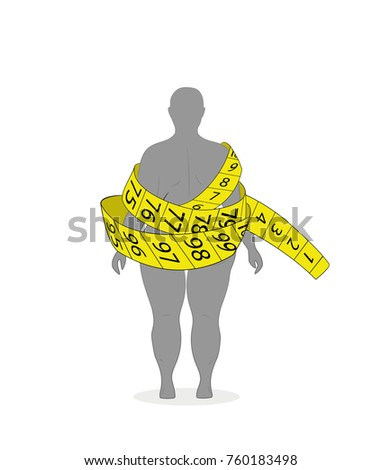 The concept of diet and weight loss. silhouette of a woman with overweight in a yellow tape measure. vector illustration.