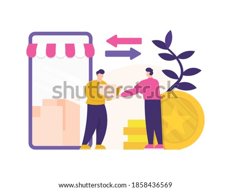 the concept of distributor and reseller, online shop, marketplace businesses or e-commerce. illustration of buyer and seller of buying and selling packages. mobile shop on smartphone. flat style Photo stock ©
