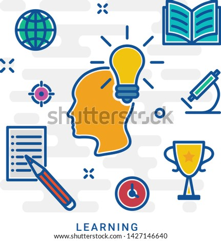 The concept of education. Icons education. Online education, Silhouettes of boy involved in an environment of education icons. Eps 10
