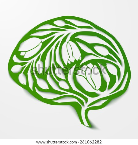 The concept of environmental awareness, alternative lifestyle, healthy life, free spirit, thinking green. Abstract human brain, vector illustration