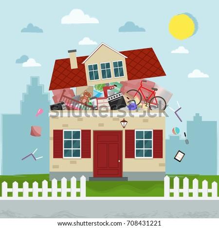 The concept of excessive consumerism. House bursting of stuff. Vector illustration. Stock foto ©