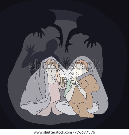The concept of expressing the fear of children in the dark by holding a flashlight and hidden in the futon. hand drawn style vector doodle design illustrations.