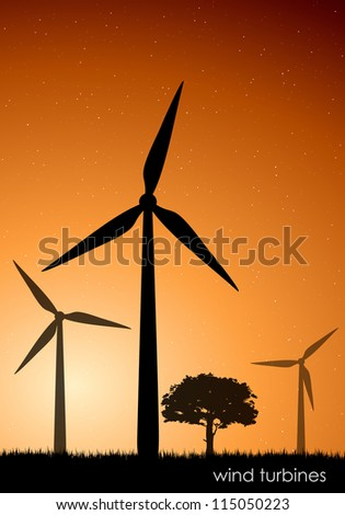 The concept of green energy. vector wind turbines