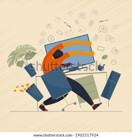 The concept of human character overload with information and mental breakdown while working at the computer. Vector illustration. Stock photo ©