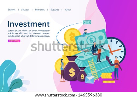 The concept of Investment. Investment in business development. Develop strategies to increase profits.Vector illustration in flat style.