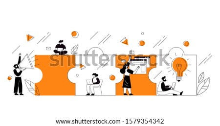 The concept of joint teamwork, building a business team. Vector illustration of working characters, people connecting pieces of puzzles.  Metaphor of cooperation and business partnership.