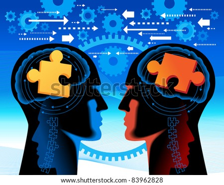 the concept of joint work.The solution of complex tasks of - stock vector