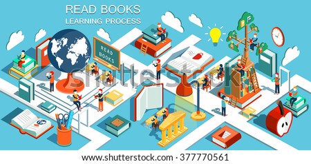 The concept of learning, read books in the library, tree of knowledge, isometric flat design vector