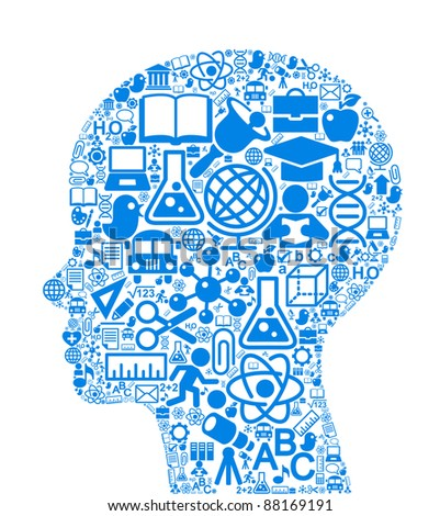 the concept of learning. Vector background of the many icons on the topic of education