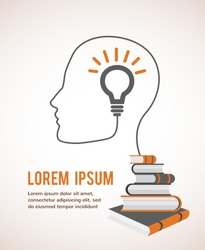 The concept of modern education. Infographic Template with profile head, with lightbulb and books