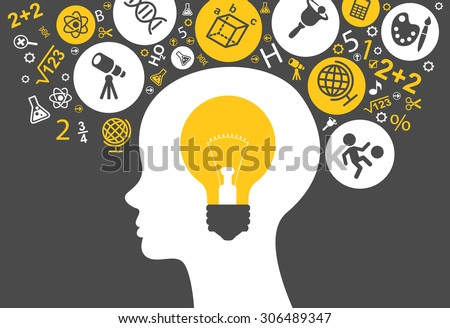 The concept of modern education. \Template with silhouette of the child head with bulb surrounded by science and education icons.