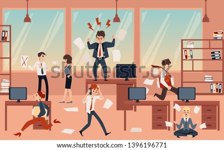 The concept of office chaos in business with the boss, businessmen and employees before deadline. Chaos and office disorder, angry and busy, running and meditating employees, flat cartoon vector