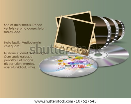 the concept of old and new technology. film with a photo and a CD