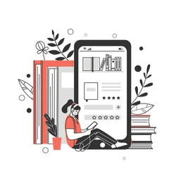 The concept of online library, bookstores. Applications for reading and downloading books, audiobooks. Vector illustration.