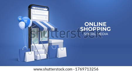 the concept of online shopping on social media app. 3d Smartphone with shopping bag, chat message, delivery, 24 hours, and like icon. suitable for promotion of digital stores, web and ad. illustration Photo stock ©