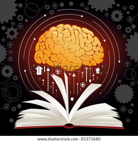 the concept of producing knowledge man - stock vector