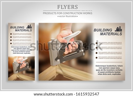 The concept of promotional materials for building materials. Stapler in the hand of a master. Vector illustration.