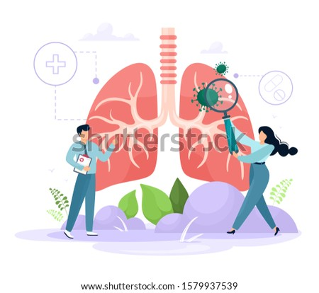The concept of Pulmanology. Human lungs with tiny healthcare characters. Examination and treatment of respiratory organs. Checking the organs of internal organs for the presence of diseases, diseases
