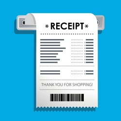 The concept of receiving a check about payment. Receipt icon, paper receipt, invoice sign, financial check. Vector illustration in a flat style.