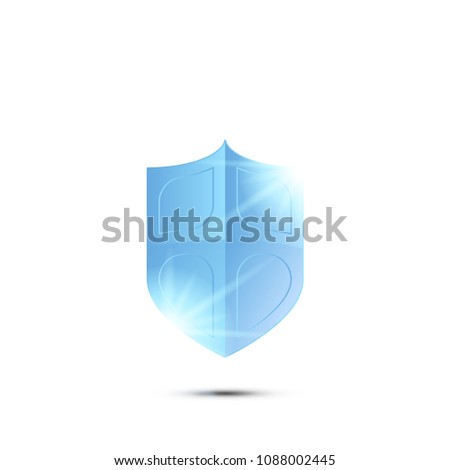 The concept of security protection icon. A realistic shield with light effects and a shadow on the background