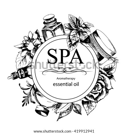 the concept of Spa procedure with flowers, bottles and element of vintage on the white  background