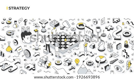 The concept of strategy and decision-making. The team develops the company's strategy by standing around the chessboard. Building strategies and strategic thinking. Abstract isometric illustration