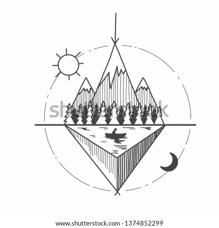 31b6e2c7ed066 The concept of tattoo. Tattoo sketch. Mountains and River. - Shutterstock  ID 1374852299