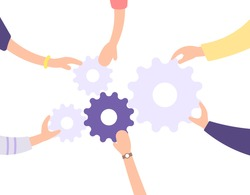 the concept of teamwork, cooperation, problem solving together. illustration of the hands of people working together to install or unite gears. combine gears. flat cartoon style. vector element design